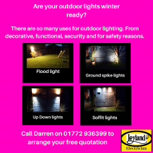 Winter outdoor lighting summer colours background